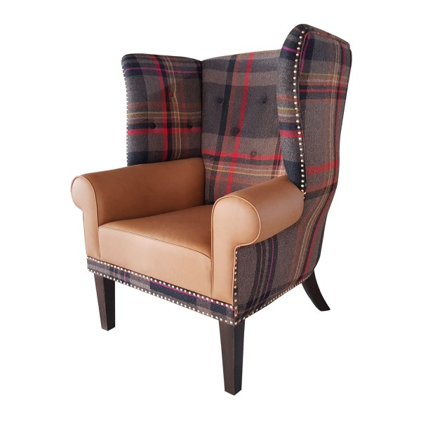 BARREL BACK WING CHAIR WITH BUTTON-TUFTED BACK