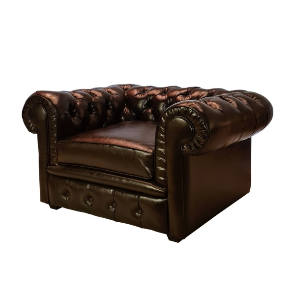 BROWN ECOLEATHER SOFA CHESTER 1 SEATER