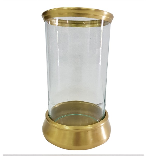 CRAFTED ILLUMINUM CANDLEHOLDER WITH BRASS FINISH