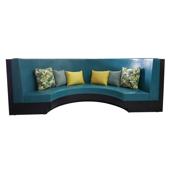 CUSTOM GREEN CURVED BANQUETTE