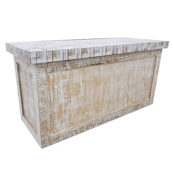 CUSTOM WHITEWASHED WOOD NESTING DISPLAY TABLE