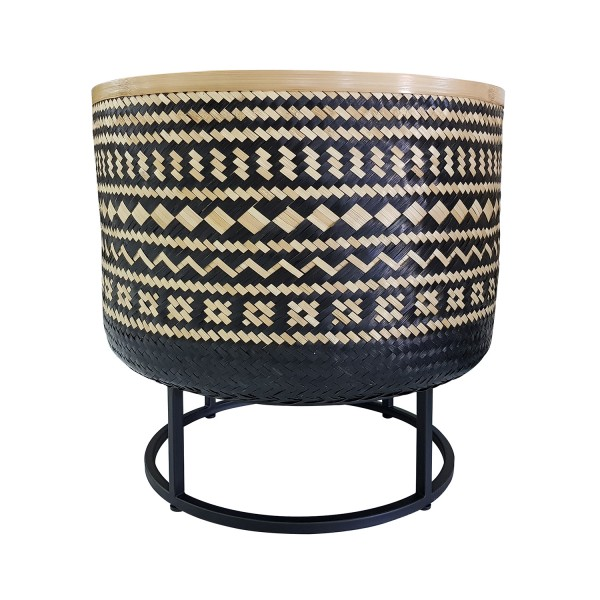 LARGE WOVEN BASKET WITH BLACK WHITE PATTERN