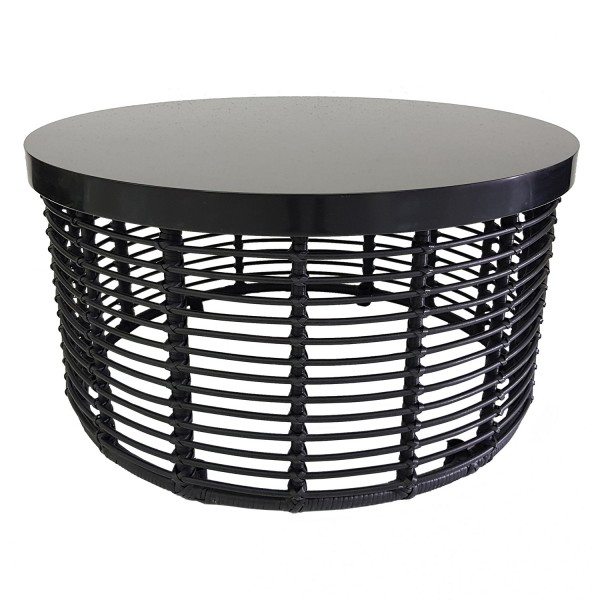 OUTDOOR ROUND WICKER DRUM TABLE