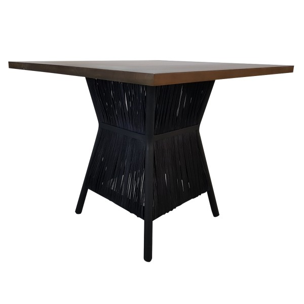 SQUARE DINING TABLE BLACK BROWN
