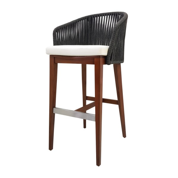 TEAK BARSTOOL WITH ROPE WRAPPING