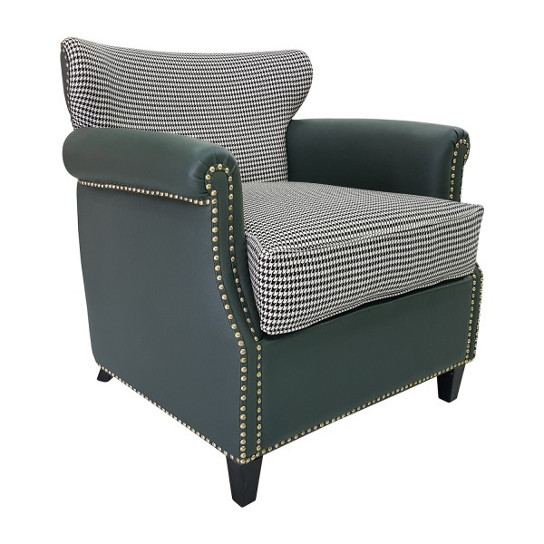 UPHOLSTERED BARREL BACK CHAIR WITH LOOSE SEAT& BACK CUSHION