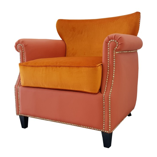 UPHOLSTERED BARREL BACK CHAIR WITH NAILHEAD DETAILING