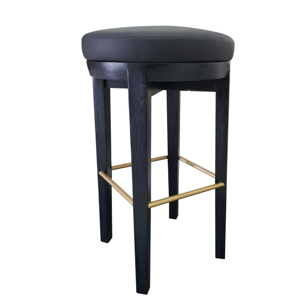 WOOD BARSTOOL WITH UPHOLSTERED SEAT