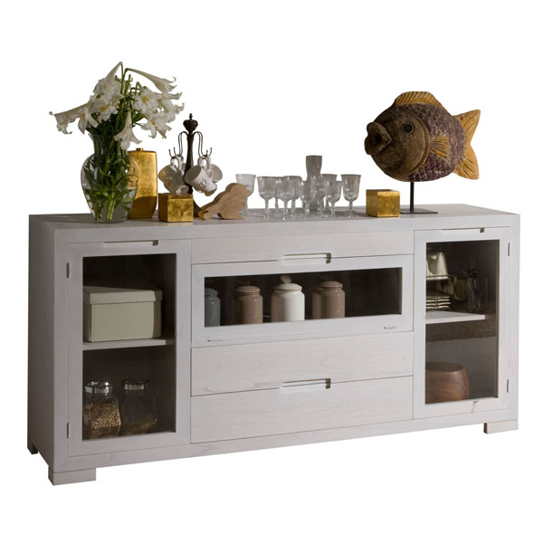 LARGE GLASS CREDENZA