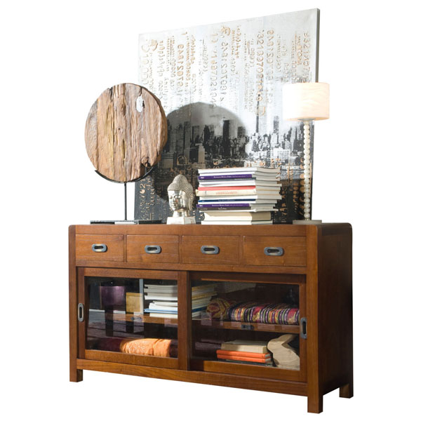 GLASS SLIDING DOOR CREDENZA