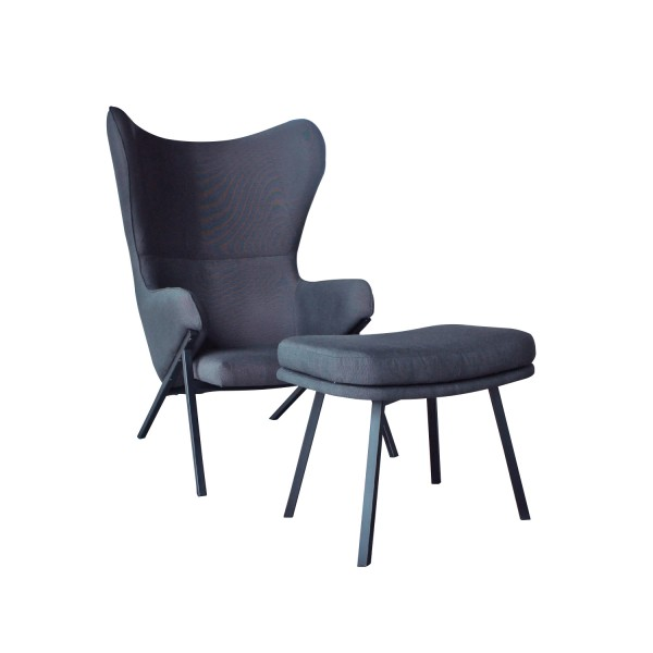 LOUNGE ARMCHAIR WITH STOOL