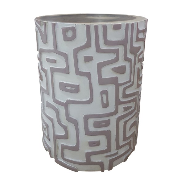 NATURAL CARVED CLAY CYLINDRICAL SIDE TABLE