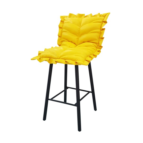 YELLOW LEATHER BARSTOOL